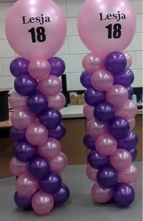 Ballonnen pilaren met naam logo en leeftijd stickers 50 for Ballonnen decoratie zelf maken